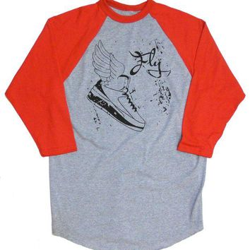 DCCKHD9 Jordan #2 Winged Sneaker T-shirt 'Too Fly' 3/4 sleeve by American Anarchy Brand