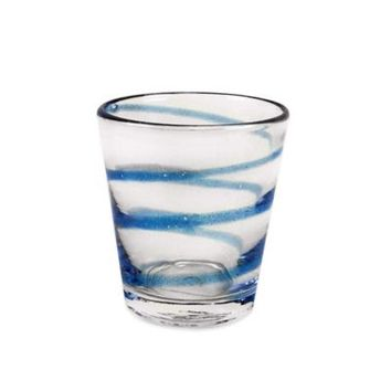 Swirl Bubble Glass Double Old Fashioned Glass in Aqua