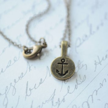 Anchor Necklace- Antique bronze anchor charm, bronze anchor, anchor stamp