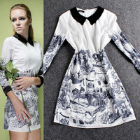 White Digitally Printed  Round Collar Long Sleeve Mini   A-Line Dress