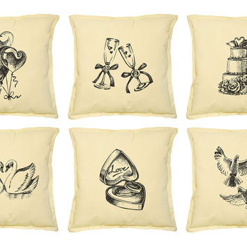 Wedding set Drawing Printed Khaki Decorative Pillows Case VPLC_02 Size 18x18