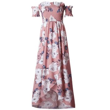 *in store* smocked off the shoulder floral wrap maxi dress