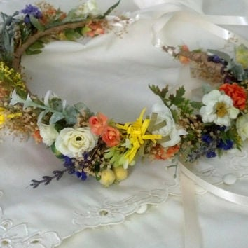 Dried Flower crown, Nature Inspired, Woodland hair wreath fairy halo Weddings Bridal headpiece yellow orange engagement wedding acessories
