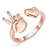 ASL Peace Dad 925 Sterling Silver Ring