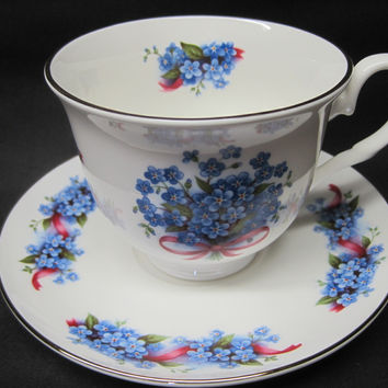2 Blue Forget Me Not English Bone China Teacups