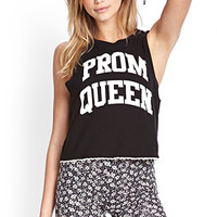 FOREVER 21 Prom Queen Tank Black/Cream