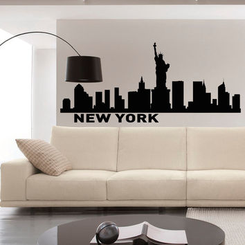 Wall Decals Vinyl Stickers New York City Skyline Silhouette Art Home Decor for Living Room C011