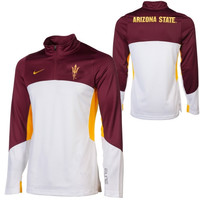 Nike Arizona State Sun Devils Shootaround Quarter Zip Long Sleeve Performance T-Shirt - Maroon/White