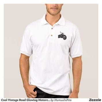 Cool Vintage Road Glowing Motorcycle Chopper Polo Shirt