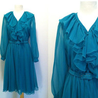 FAR OUT Dress / Vintage 1970s Party Dress / Vicenti / Green Polyester Ruffle Flowy Dress