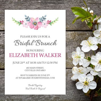 Watercolour Floral Bridal Brunch Invitation and Name Tags | DIY Instant Download MS Word Document | Pink, Green, Blue