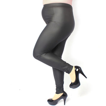 Sexy Women Lady Plus Size 3XL 4XL Skinny High Waist Faux Leather Leggings Pants