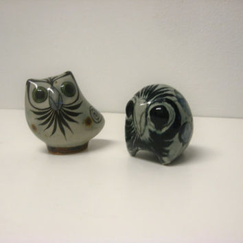 wide-eyed owl pair - vintage