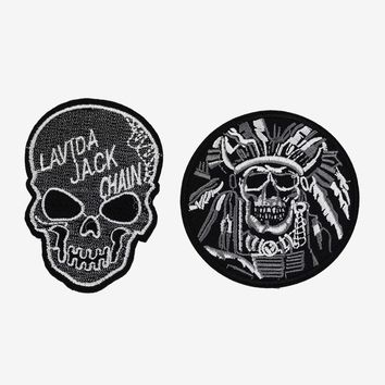 Tactical Patches Military Embroidery Applique Warrior Chief Death Skull Patches Iron Stickers For Clothes For Biker