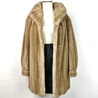 Vintage Plus Size Faux Mink Fur Coat Dubrowsky & Perlbinder Tissavel Made in France Light Brown Extra Large Warm Winter Coat Trendy Fashion
