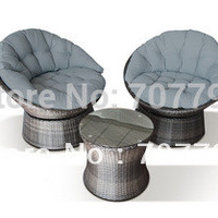 New!3 Piece Swivel Lounge Chair Set Grey Rattan
