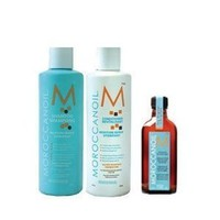 Moroccanoil Shampoo (8.5 oz), Conditioner (8.5 oz), and Oil Treatment (3.4 oz) Trio