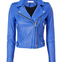 Dylan Blue Leather Moto Jacket