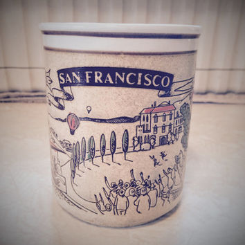 Vintage 1970's Mico San Francisco Landmark Coffee Mug Cup