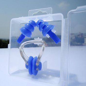 Universal Soft Silicone Swimming Nose Clips + 2 Ear Plugs Earplugs Gear with a case box Pool Accessories Water Sports