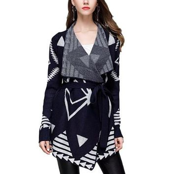 [15708] Navy Belted Sweater Cardigan