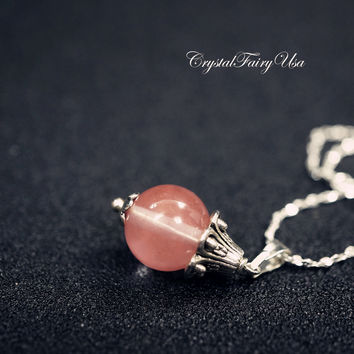 Cherry Quartz Necklace Cherry Stone Choker  Tiny Sterling Silver Necklace, Bridesmaid Necklace  Bridesmaid Jewelry Gift For Her For Daughter