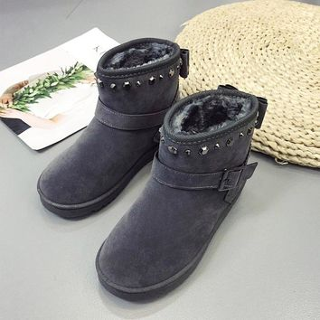 On Sale Hot Deal Shoes Winter Round-toe Rivet Thicken Boots [47583199239]