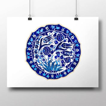 Turkish Tile Blue Tulip Art Watercolor Print Ottoman Digital Print Carnation Wall Art  Traditional Wall Decor Wall Hanging