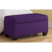 Skyline Furniture Upholstered Micro-Suede Bedroom Storage Ottoman