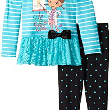 Disney Little Girls' 2 Piece Doc McStuffins Bye Bye Boo Boo's Legging Set, Green, 3T