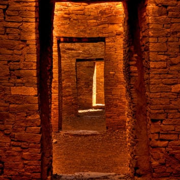 Photography, Door Ways at Chaco Canyon, New Mexico, Metal Print, Driftwood, Spiritual Journey, Light, Mystical, Home Decor