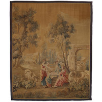 Late 19th-Century Antique French Aubusson Wall Tapestry with Old World Charm
