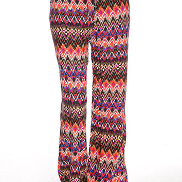 Black Orange Red Pattern Design Gaucho Pants