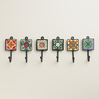 Painted Square Tile Hooks, Set of 6 - World Market