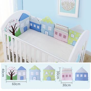 1-12Pc/Lot Infant Crib Bumper Bed Protector Baby Kids Cotton Cot Nursery bedding House bumper for boy and girl