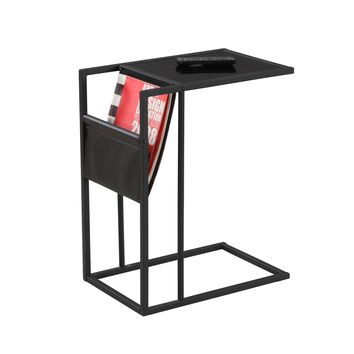 Black Metal Accent Table With A Magazine Rack