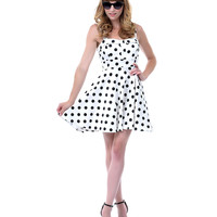 White & Black Polka Dot Darling Dress - Unique Vintage - Prom dresses, retro dresses, retro swimsuits.