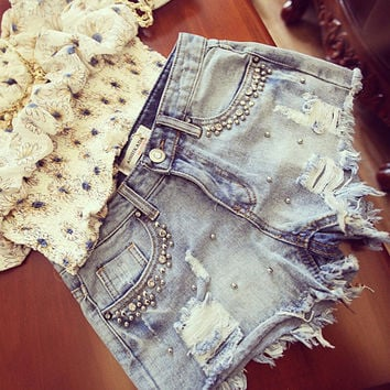 Summer Beaded Denim Shorts Female Casual jeans Shorts