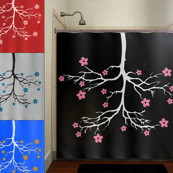 chandelier cherry blossom flower tree shower curtain bathroom decor fabric kids bath white black custom duvet cover rug mat window