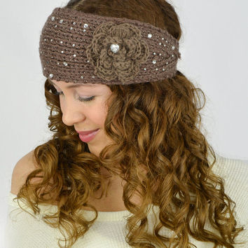 Light Brown Knit Headband Flower Knit Brown ear warmers hand knitted headband crochet head band knit head wrap crochet earwarmers cable knit