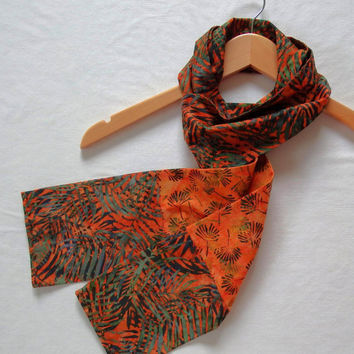 "Botanical Scarves, Unique Hand Sewn Scarves, 5"" Wide  74"" Long, Orange Autumn Scarves, Handmade Batik Scarves, Bamboo Garden Scarf"