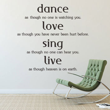 Dance Love Sing Live Quotes Family Lettering Words Wall Sticker Vinyl Home Art Decor Wall Decal Window Glass Poster