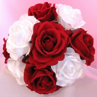 Silk Bouquet Red and White Rose [BSLKRdWhRose] - $39.99 : DebbieCoFlowers.com, Silk Wedding Bouquets - Silk Bridal Bouquets and Coordinating Decorations Custom Designed