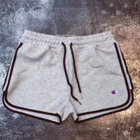 Champion New Fashion Sports Running small logo print Shorts  Light Gray
