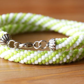 Beaded crochet necklace, rope, silver, white, green, lime, gift idea, one of a kind, seed bead jewelry
