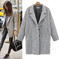 Loose Lapel Pocket Woolen Coat