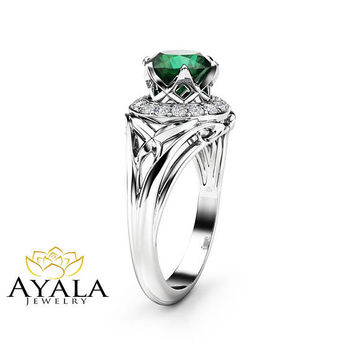 Diamonds Halo Emerald Engagement Ring 14K White Gold Natural Emerald Ring Art Deco Styled Ring