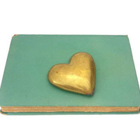 Brass Heart Paperweight Vintage Office Desk Accessory Home Decor Aged Gold Patina Tarnish Gifts For Her