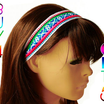 White, Magenta, Blue Peruvian fabric, Peruvian textile, Multicolor, Woven Headband, Skinny Hairband, boho headband, thin headband