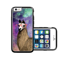 RCGrafix Brand Springink Hipster Cute Llama Geek Glass iPhone 6 Case - Fits NEW Apple iPhone 6